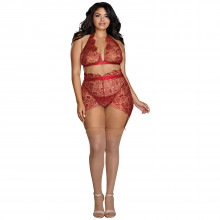 Dreamgirl Plus Size Delicate Floral Bra Set Product model 1